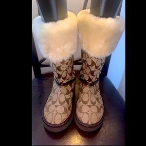 Coach Fur Lined Snow Boots